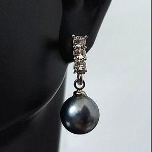 E1759 Crystal Pearl Drop Earrings